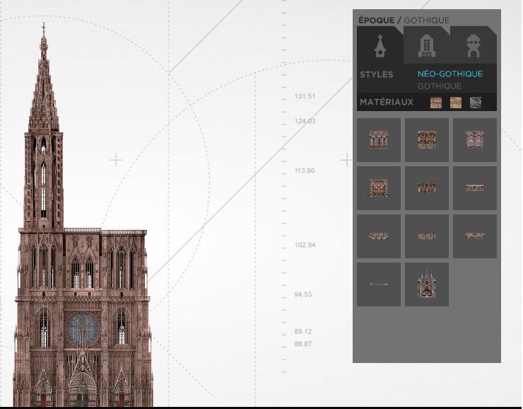 A gauche, la tour à construire, à droite, quelques éléments disponibles.