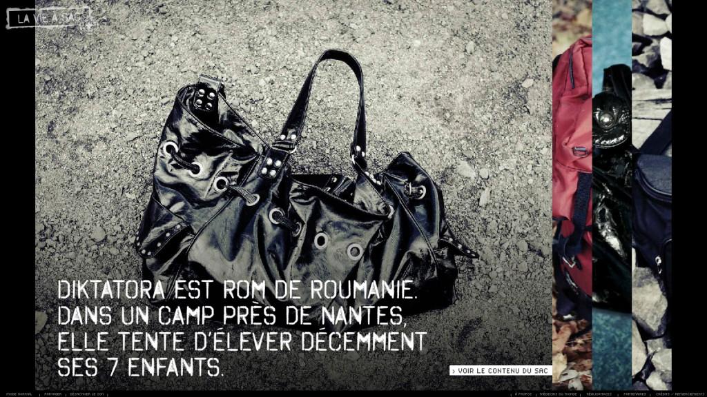 Le sac de Diktatora, roumaine dans un camp nantais. On peut distinguer à droite un morceau des autres sacs.