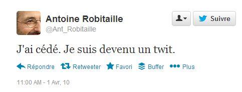 first tweet avril 2010 Robitaille