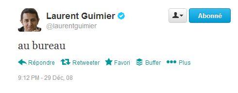 first tweet déc 2008 Guimier