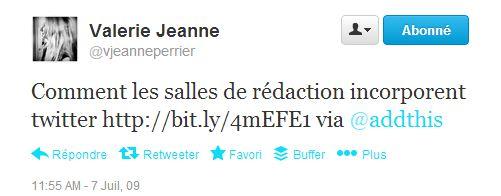 first tweet juillet 2009 VJ Perrier
