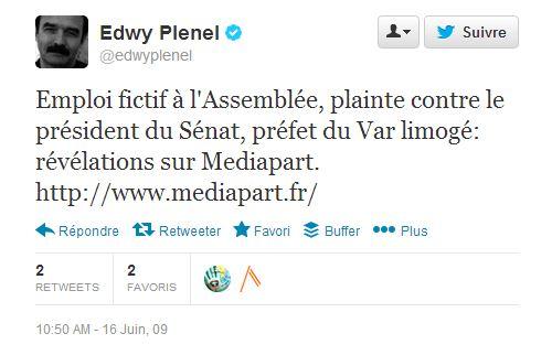 first tweet juin 2009 Plenel