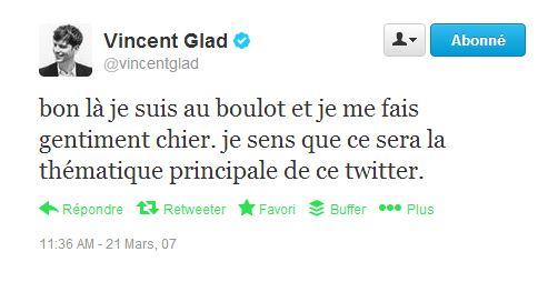 first tweet mars 2007 Glad