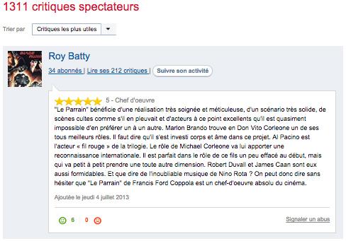 Un exemple de contribution amateur sur Allociné.fr