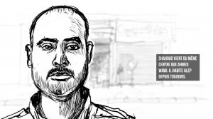Screen shot du webdoc : Shaoud est un casque blanc.